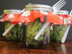 Salad in a jar!  What a great idea.  I will use this for all types of gatherings and picnics!
