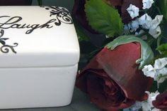 Ceramic Laugh Keepsake Box Laugh by GrapeVineCeramicsGft