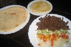 Shawarma Plate: Beef shawarma, Pita bread and Hummus