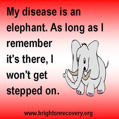 My disease is an elephant. As long as I remember its there I wont get stepped on