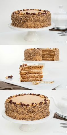 Golden Key Cake. The cake tastes like a slice of caramel, topped with hazelnuts.
