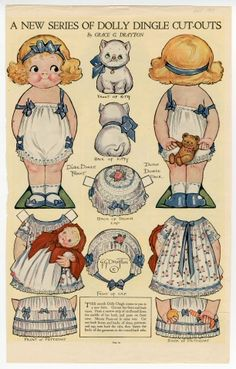 86.3034: A New Series of Dolly Dingle Cut-Outs | paper doll (had lots of cut outs..rich kids had real lace an' stuff to put on them. I didn't care.