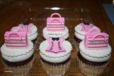Bridal shower cupcake, with sexy corset and Victoria's Secret shopping bag (customized to Olga's Secret) made on a edible image. all edible