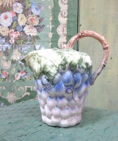 50's-60's Majolica Lavender Pitcher With Grapes, Branch Handle branch handl