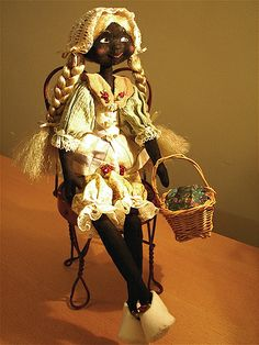 Black Jointed Cloth Golly Doll Martha by Malphi, via Flickr
