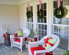 Christmas porch. Change the cushion colors to holiday theme.