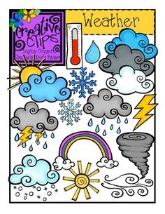 This weather set of clips is perfect for creating science units or using for daily calendar weather graphs! Included are a total of 32 images (this includes 18 color versions and 14 digital stamps for each corresponding image (black and white versions).$