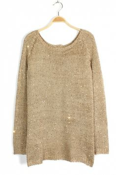 Gorgeous Gold Sparkle Accents! Slit Back Gold Chiffon Sweater! #Gold #Sparkle #Holiday #Sweater #Fashion