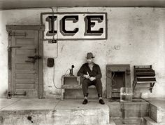 The Ice Man: February 1939. Ice for sale. Harlingen, Texas. Medium format negative by Russell Lee for the Farm Security Administration. Here we have a very concise study in what you need for an ice business: Telephone, cash register, tongs, ice pick and a big block of you-know-what. Not to mention plenty of twine.