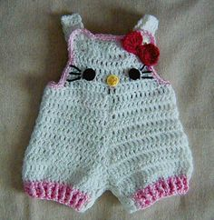 $4.95--Ravelry: Hello Kitty Baby shorties, Buttons at legs for easy change pattern by Cathy Ren