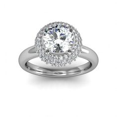 One of the most unique engagement rings I've ever seen! The halo itself is three row pave!  #engagement #engagementrings #jewelry #artdeco #weddings #uniqueengagementrings  $1393