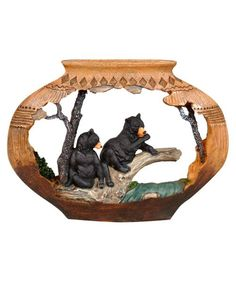 Bear Pottery Sculpture ~ Aged southwest pottery frames a pair of black bears in the detailed polyresin Bear Pottery Sculpture.