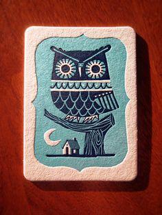 Winter Owl letterpress postcard by inkpopstudio Pinned by www.myowlbarn.com