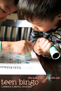 My kids love playing this math game. Teen bingo develops early numeral identification skills.