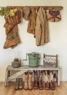 ... farm, mudroom, cottage chic, vignett, bench, cowgirl style, entryway, country rustic, countri