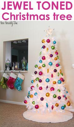 white christmas trees, white tree, candi, ornament, christma tree, jewel tone christmas