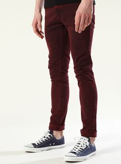 blood red, red jeans, skinni jean, dark red