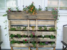Pallet planter we made, up-cycled pallet used as a container for gardening!