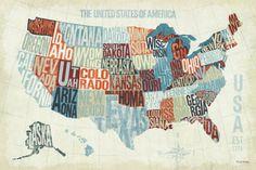 USA Modern Blue Print