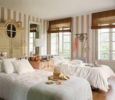 Dormitorio para compartir - rayas blancas y beige - estilo clasico