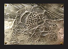 Tooled foil 'engraving' plate, painted with india ink (then wiped away) and burnished with steel wool. Corners are punched and art is mounted with brads.