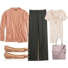 Great colors for the first day at a new job! colors, outfit style, pretti work, pink, flats, work outfits, first day, business casual, shoe