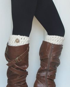 Crochet Boot Cuffs in Off White for Fall:)