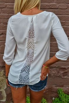 3/4 Sleeves White Back Lace Shirt