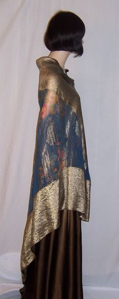 1920's Art Deco Prussian Blue Floral Printed Shawl-Gold Lame image 3