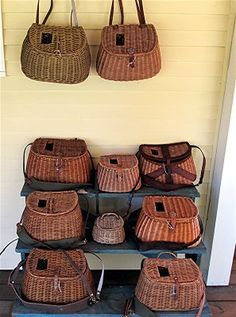 Vintage Wicker Fishing Creels.  Use on a desk for sorting mail or holding various office supplies.