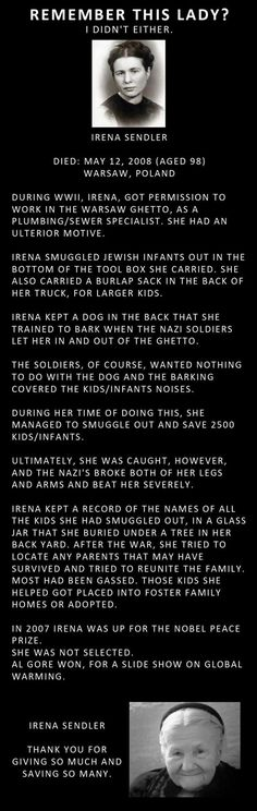 Today is 27 January 2014, The International Holocaust Remembrance Day. Not to be confused with Yom Hashoah.  Today, I remember Irena Sendler and all the children she saved.