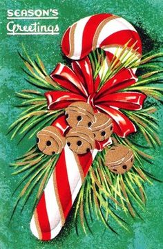 Candy Cane Vintage Christmas Card