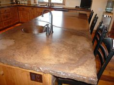rustic cement countertops | Rustic kitchen, Rustic kitchen with Alder cabinets, concrete counter ...
