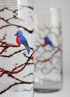 MaryElizabethArts - Autumn Bluebird Glasses $9.95