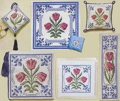 Choose from Delft Tulips Bookmark, Needlecase, Pincushion and Scissor Keep kits including counted cross stitch pattern and all materials