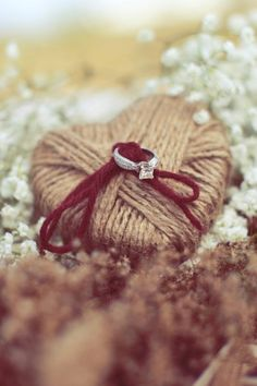 twine heart. great idea for the ring bearer to carry!