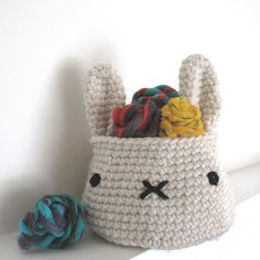 Bunny basket crochet pattern by Cheryl Cambras at Etsy crochet baskets, craft, bunni basket, basket crochet, knit, cheryl cambra, basket bag, crochet patterns, yarn