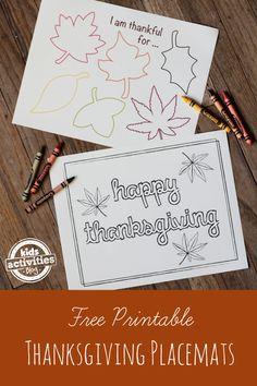 Free Printable Thanksgiving Placemats
