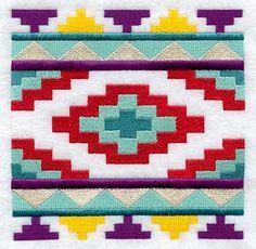 Inspiration for quilt block modeled after traditional Southwest Native American rug art. emblibrary.com