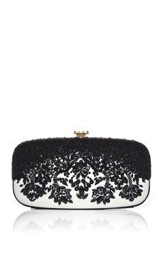 Oscar de la Renta - Black & White Embroidered Goa Clutch - This is so gorgeous!