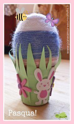 Lavoretti di Pasqua: il vasetto con l'uovo segnaposto