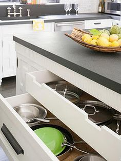 Drawers for pots and pans are a must.