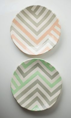 Grey & Peach Zag Dish by upintheairsomewhere on Etsy
