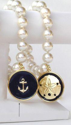 Nautical Resort Pearl Navy Anchor Charm Bracelet