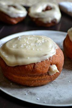 Bakeaholic Mama: Sea Salted Maple Pumpkin Doughnuts with a Cinnamon Cream Cheese Filling