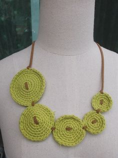 Lemon Green 5 Circles Crochet Jewelry Necklace with by TawanShine, $5.00
