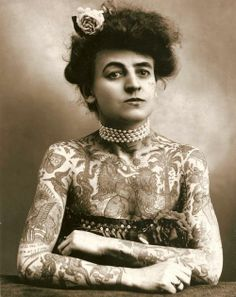 Maud Wagner, the first known female tattooist in the U.S., 1911. In 1907, she traded a date with her husband-to-be for tattoo lessons. Their daughter, Lotteva Wagner, was also a tattooist.