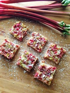 Deliciously tangy, sweet rhubarb bars with a sweet shortbread crust