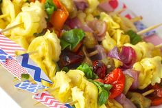 This recipe makes pasta salad even more perfect for entertaining, serving it on handheld skewers. The folks fromTheEntertainingShoppe.com chose to include cheese-filled tortellinis to make it extra flavorful.