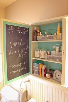 Paint a fun color and chalkboard paint.